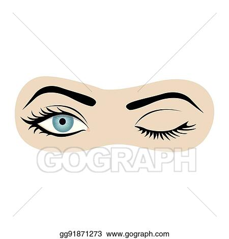 vector stock color silhouette with wink woman eye stock clip art rh gograph com Man Winking Clip Art Animated Winking Eyes Clip Art