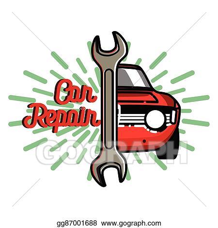 clip art vector color vintage car repair emblem stock eps