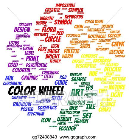 Stock Illustration Color Wheel Word Cloud Shape Clipart