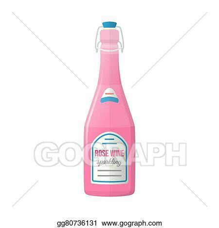 9b678b675e4 Colored flat light pink sparkling wine lightning stopper bottle illustration
