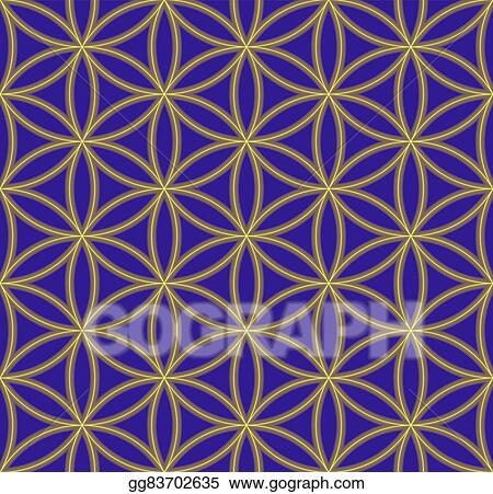Colored flower of life sacred geometry pattern