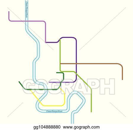 Vector Art - Colored metro vector map of bangkok, thailand. EPS ...