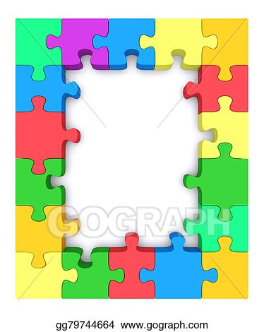 Stock Illustrations - Colored puzzle frame. Stock Clipart gg79744664 ...