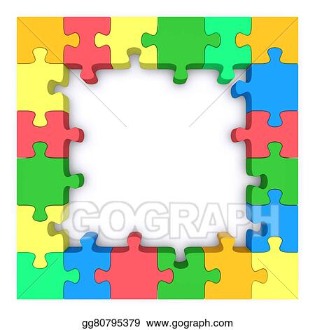 Stock Illustrations - Colored puzzle frame. Stock Clipart gg80795379 ...