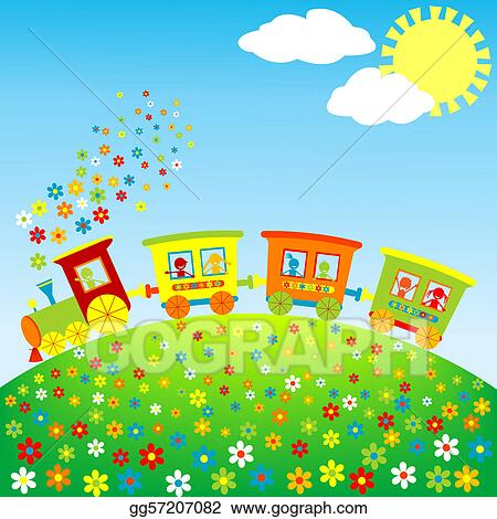Stock Illustration Colored Toy Train With Happy Kids Clipart