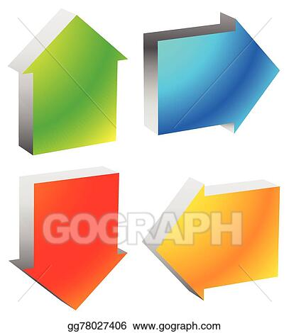 Vector Illustration Colorful Bold Arrow Icons Arrows Pointing To