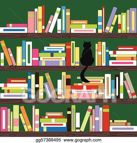 Vector Illustration - Colorful books on bookshelf. EPS Clipart ...