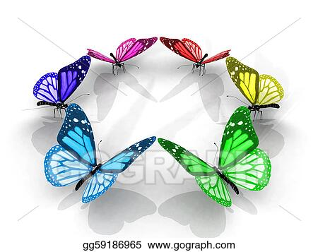 Drawings - Colorful butterflies in a circle. Stock Illustration ...