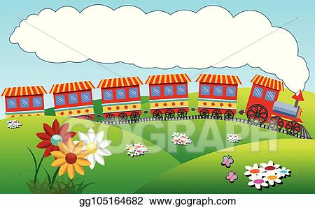 Clip Art Vector Colorful Cartoon Steam Train Riding Over Hilly