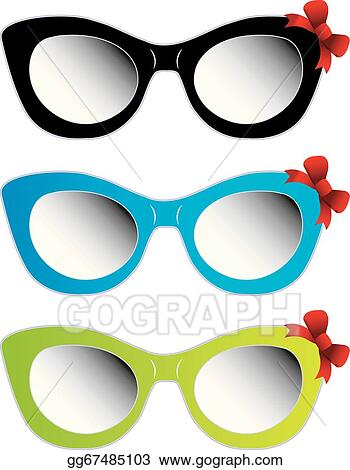 975c3e3b537 Vector Clipart - Colorful cat eye sunglasses. Vector Illustration ...