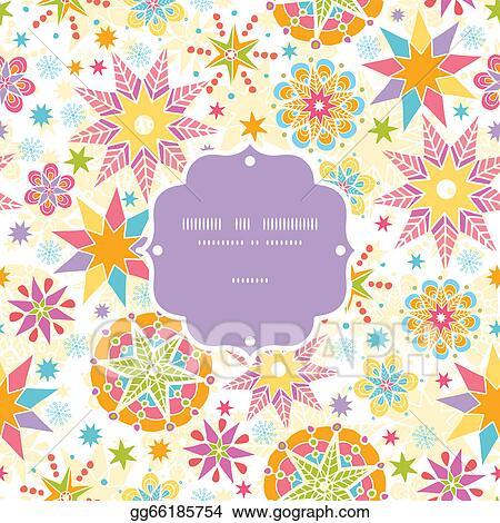 Colorful Christmas Background Design.Vector Stock Colorful Christmas Stars Frame Seamless