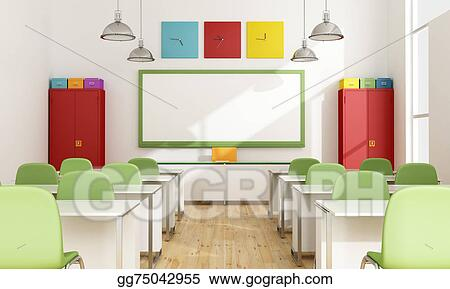 Modern classroom. Stock illustration colorful clipart
