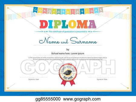 Vector Stock Colorful Diploma Certificate Template For Kids In