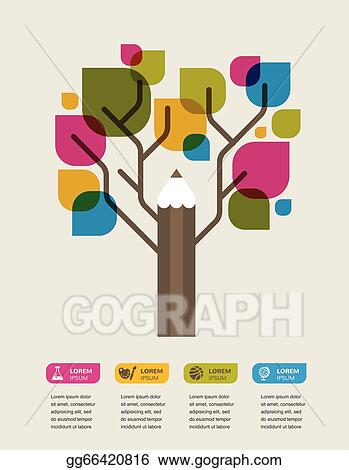 eps vector colorful education tree with pencil and text space rh gograph com Rocket Clip Art Cartoon Space