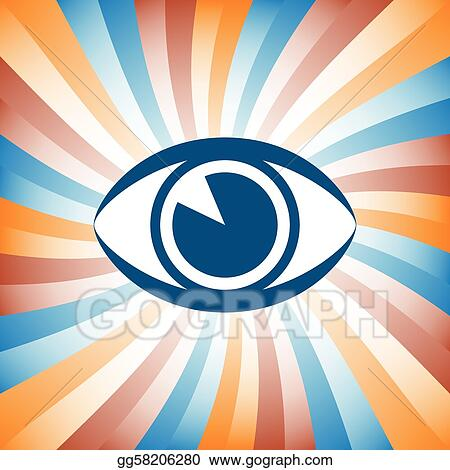 Vector Stock - Colorful eye sunburst design  Stock Clip Art