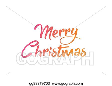 Colorful gradient isolated hand writing word Merry Christmas