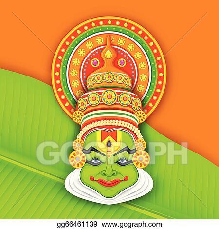 Clip Art Vector Colorful Kathakali Face Stock Eps Gg66461139 Gograph