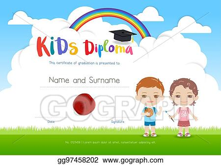 vector art colorful kids summer camp diploma certificate template