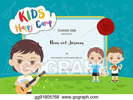 Vector Stock Colorful Kids Summer Camp Diploma Certificate