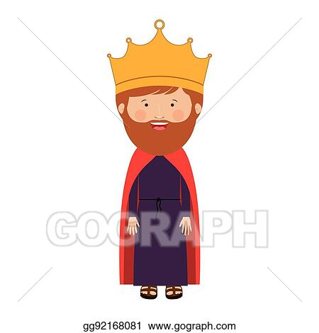 Vector Art Colorful King With Crown And Beard Clipart