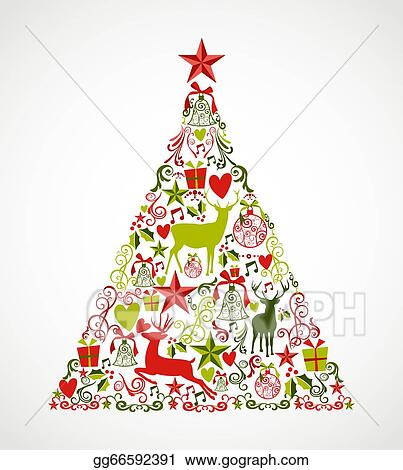 Colorful Christmas Tree Vector.Vector Illustration Colorful Merry Christmas Tree Shape