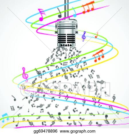 Vector Art Colorful Musical Notes Coming Out Of Microphone