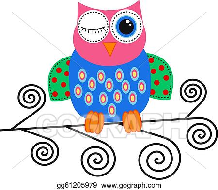 Vector Art Colorful Owl Clipart Drawing Gg61205979 Gograph