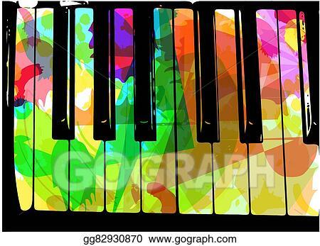 Piano colorful. Vector clipart illustration