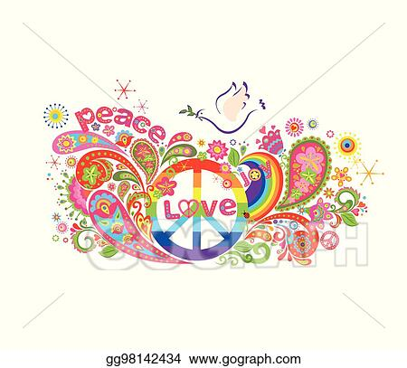 Colorful Poster With Abstract Flowers Rainbow Hippie Peace Symbol And Dove