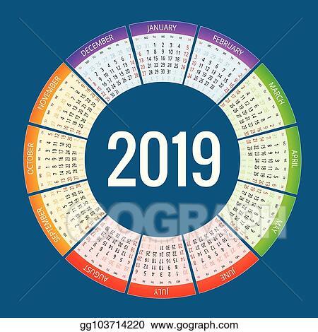 Vector Clipart Colorful Round Calendar 2019 Design Print Template