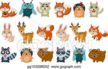 Vector Stock Colorful Set Of Different Forest Animals Funny