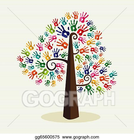 Vector Art Colorful Solidarity Hand Prints Tree Clipart Drawing