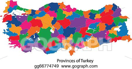 vector art colorful turkey map clipart drawing gg66774749 gograph