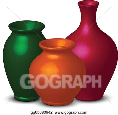 Vector Art Colorful Vases Clipart Drawing Gg65680942 Gograph