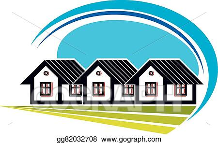 Vector Art Colorful Vector Illustration Of Country Houses On