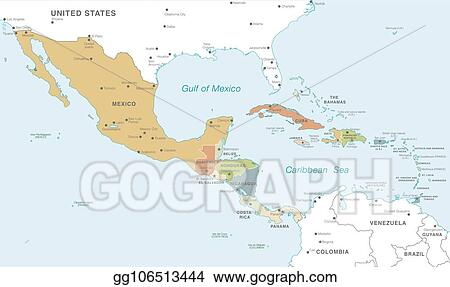 EPS Vector - Colorful vector map of central america. Stock Clipart ...