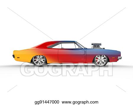 Stock Illustration Colorful Vintage Muscle Car Side View