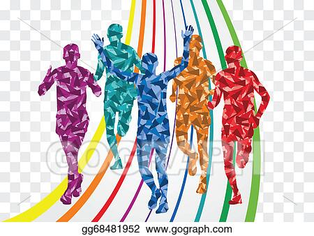 Colorful Winter Marathon Runners Silhouettes Background