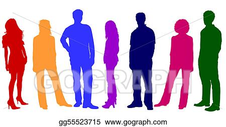 stock illustration colorful young people silhouettes clipart rh gograph com Young and Old Person Clip Art Young and Elderly People Clip Art