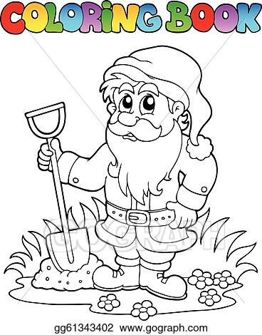 Cute Gardening Elements Coloring Book Cartoon Garden Dwarf