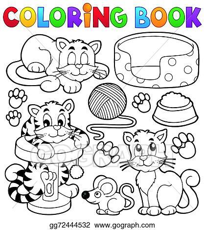 Vector Illustration - Coloring Book Cat Theme Collection. Stock Clip Art  Gg72444532 - GoGraph