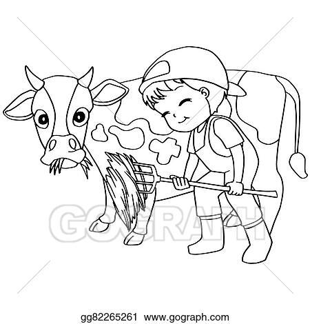 EPS Illustration - Coloring book child feeding cow vec. Vector ...