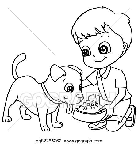 Vector Illustration - Coloring book child feeding dogs ve. Stock ...