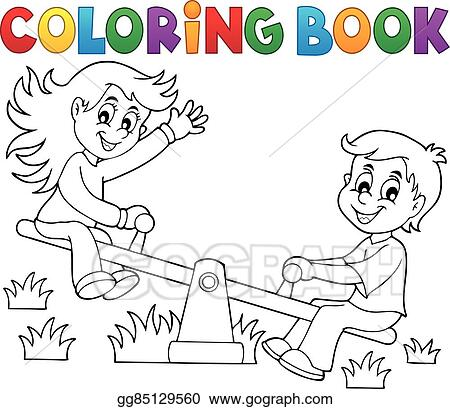 Vector Stock - Coloring book children on seesaw theme 1. Stock Clip ...