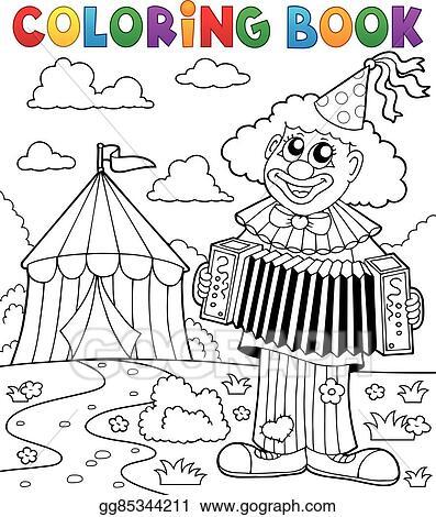 EPS Vector - Coloring book clown near circus theme 4. Stock Clipart ...