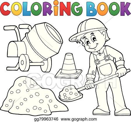 Vector Art - Coloring book construction worker 2. Clipart Drawing ...