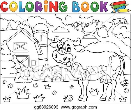 Clip Art Vector - Coloring book cow near farm theme 2. Stock EPS ...