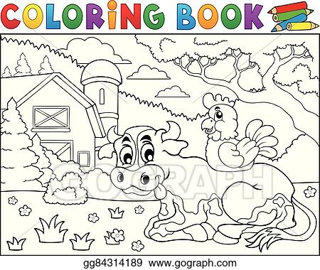Vector Illustration - Coloring book cow near farm theme 3. Stock ...