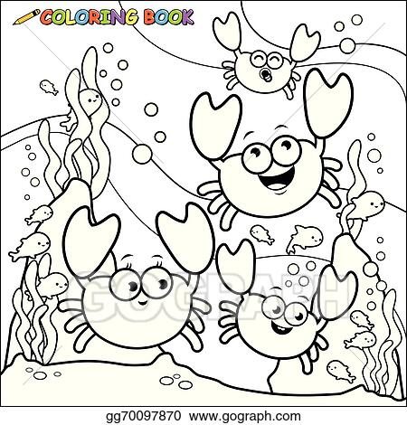 Coloring Book Crabs Underwater Gg70097870