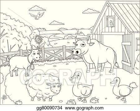 Vector Art Coloring Book Farm Cartoon Educational Clipart Drawing Gg80090734 Gograph